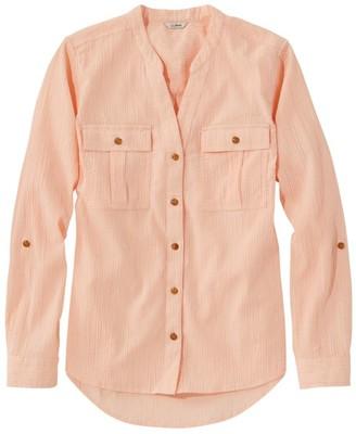 L.L. Bean Women's Soft Cotton Crinkle Shirt, Roll-Tab Print