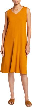 Eileen Fisher V-Neck Sleeveless Jersey Flare Dress