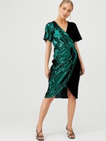 Very Sequin And Velvet Wrap Dress - Forest