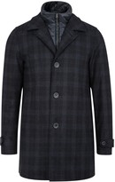 Herno Navy Checked Wool Blend Coat