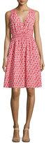 Kate Spade V-Neck Fit-&-Flare Ikat Dress, Red Chestnut/Surprise Coral