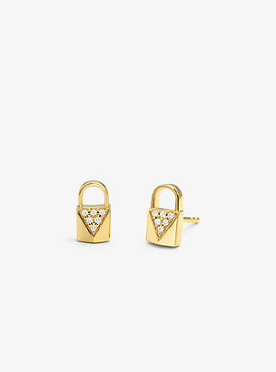 Michael Kors Precious Metal-Plated Sterling Silver Pave Lock Studs