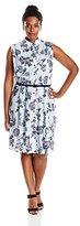 Julian Taylor Women's Plus Size Floral Printed Sleeveless Shirt
