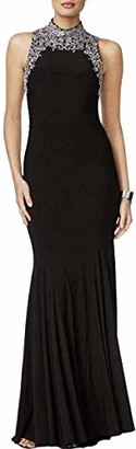 Betsy & Adam Women's High Neck Gown with Illusion Back