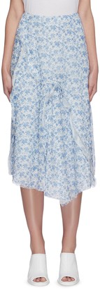 Acne Studios Floral print asymmetric flare hem chiffon midi skirt