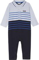 BOSS Logo striped cotton babygrow 1-12 months