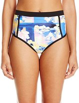 Calvin Klein Women's Geo Floral High Waisted Shirred Bikini Bottom with Binding