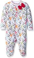 Blue Banana Girls Flower Bow Footie Pajamas Footed Sleeper Outfit Newborn Pink