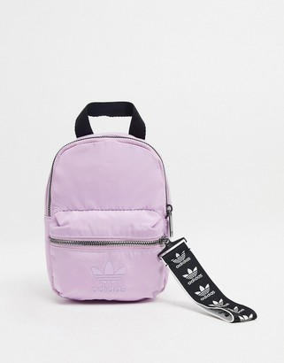 adidas trefoil logo mini backpack in lilac