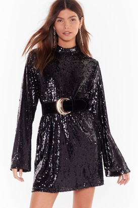 Nasty Gal Womens Get the Party Started Sequin Mini Dress - Black - 8