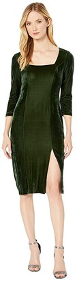 Donna Morgan Stretch Velvet Deep Square Neck 3/4 Length Sleeve Midi Dress (Dark Green) Women's Dress