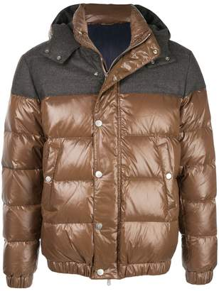 Eleventy contrast panel hooded down jacket