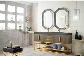 """Ash Mercury Row Winscombe 73"""" Double Bathroom Vanity Set Mercury Row Base Finish Gray, Top Finish: Dark Gray, Hardware Finish: Radiant Gold"""