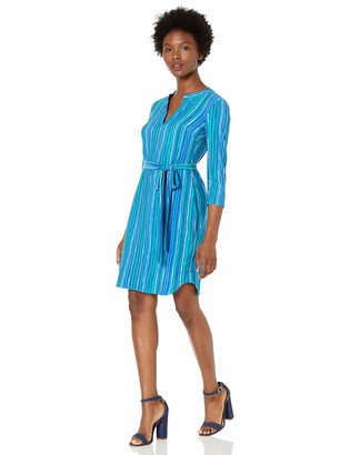Donna Morgan Women's Petite Matte Jersey Printed Long Sleeve Buttoned Front Dress