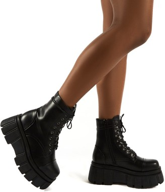 Public Desire Uk Trooper PU Lace Up Chunky Sole Ankle Boots