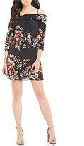 Blu Pepper Floral Printed Off-The-Shoulder Shift Dress