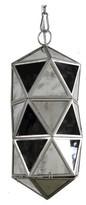 A&B Home Rectangle Glass Panel Pendant Lamp - Silver