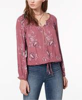 American Rag Juniors' Printed Drawstring-Hem Blouse, Created for Macy's