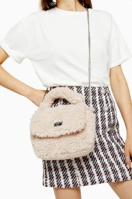 Topshop Womens Cosy Cream Borg Grab Bag - Cream