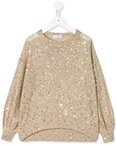 Brunello Cucinelli Kids sequin embroidered blouse