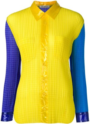 Issey Miyake Pre-Owned colour block pleated shirt