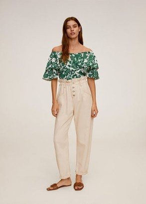 MANGO Floral off-shoulder blouse