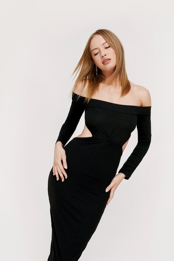 Thumbnail for your product : Nasty Gal Womens Off the Shoulder Twist Cut Out Midi Dress