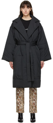 Proenza Schouler Black White Label Matte Puffer Belted Coat