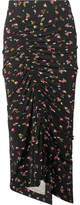 Preen by Thornton Bregazzi Jessica Ruched Floral-print Stretch-crepe Midi Skirt - Black