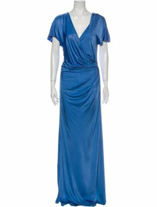 Lanvin V-Neck Long Dress Blue