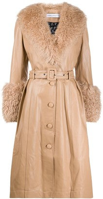 Saks Potts Foxy curly shearling trench coat