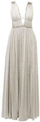 Jonathan Simkhai Ruffled Plisse Metallic Dress - Womens - Silver