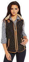 Daniel Cremieux Kennedy Front Zip Detachable Faux-Fur Collar Quilted Vest