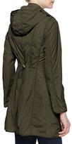 Moncler Long Snap-Front Jacket, Olive