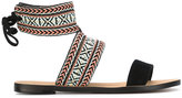 Rebecca Minkoff Melissa flat sandals - women - Cotton/Leather/Suede - 6.5