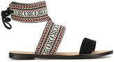 Rebecca Minkoff Melissa flat sandals - women - Suede/Cotton/Leather - 6.5