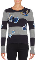 French Connection Argento Embroidered Knit Sweater
