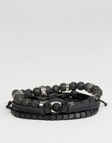 Aldo Matte Black Bracelets In 4 Pack