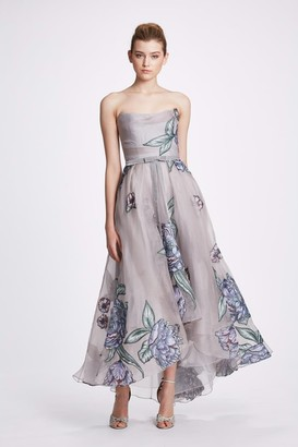 Marchesa Notte Strapless Hi-Lo Midi-Tea Dress