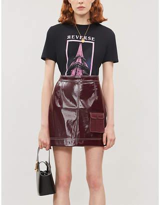 Maje Reverse Eiffel Tower-print cotton-jersey T-shirt
