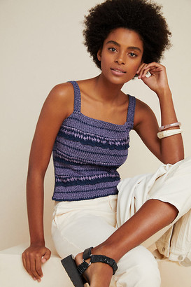 Anthropologie Smocked Embroidered Tank By in Purple Size L