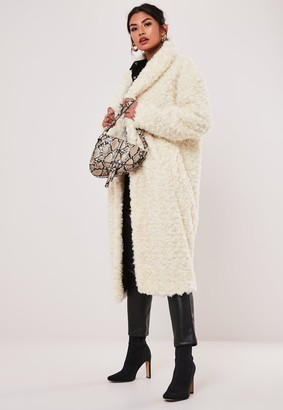 Missguided Cream Borg Teddy Curly Shawl Collar Coat