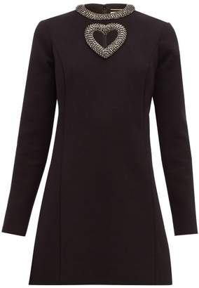 Saint Laurent Crystal-embellished Wool-blend Mini Dress - Womens - Black Multi