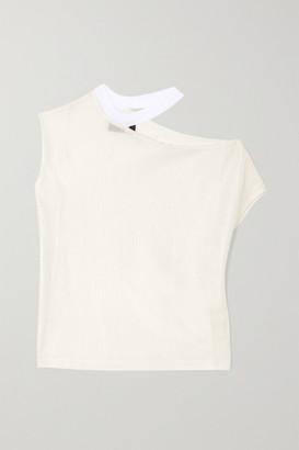 RtA Axel Cutout Ribbed-knit Top - White