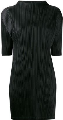 Pleats Please Issey Miyake Pleated Mock-Neck Dress