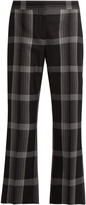 Alexander McQueen Checked silk and wool-blend flared trousers