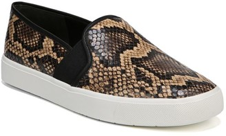 Vince Blair Snakeskin-Embossed Leather Slip-On Sneakers