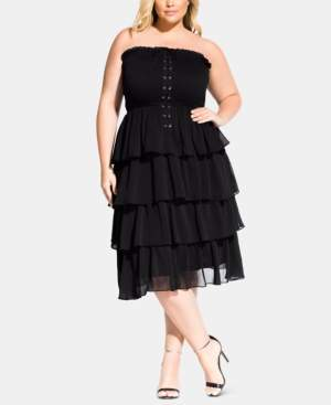 City Chic Trendy Plus Size Sienna Strapless Corset Dress