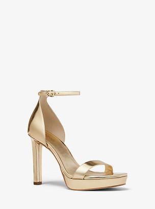 Michael Kors Margot Metallic Leather Platform Sandal