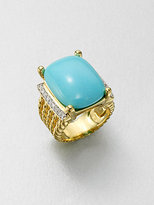 David Yurman Diamond Accented 18K Gold Turquoise Ring